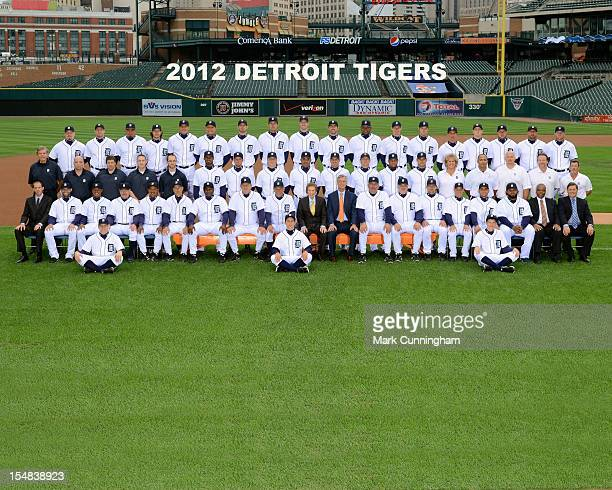 The Detroit Tigers pose for their 2012 team photo at Comerica Park in September 2012 in Detroit Michigan