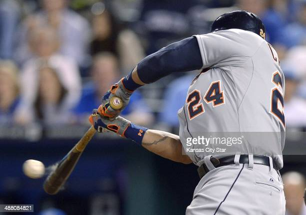 The Detroit Tigers' Torii Hunter connects on a 3run home run against the Kansas City Royals in the ninth inning at Kauffman Stadium in Kansas City Mo...