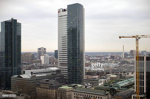 The Deutsche Bahn AG headquarters stand as commercial and residential property are seen on the city skyline in Frankfurt Germany on Thursday Dec 3...