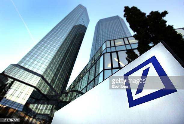 The Deutsche Bank AG company logo is seen displayed outside their headquarters in Frankfurt Germany on Monday Sept 10 2012 Deutsche Bank AG coChief...
