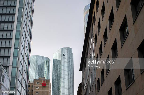 The Deutsche Bank AG headquarters stand in Frankfurt Germany on Thursday Oct 29 2015 Deutsche Bank AG said it will shrink the workforce by about...