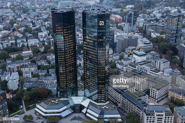 The Deutsche Bank AG logo sits on the bank's headquarter skyscraper offices in Frankfurt Germany on Monday Oct 13 2015 Deutsche Bank coChief...