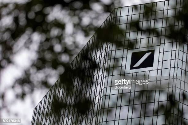 The Deutsche Bank AG logo sits on the skyscraper headquarter offices in Frankfurt Germany on Thursday July 20 2017 Frankfurt has emerged as a winner...