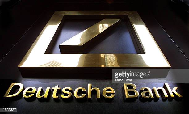 The Deutsche Bank headquarters sign is on display July 11 2001 in New York City