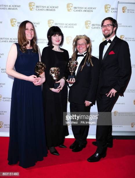 The Development Team of the Fullbright Company with the Debut Game award for Gone Home at the British Academy Games Awards at Tobacco Dock London