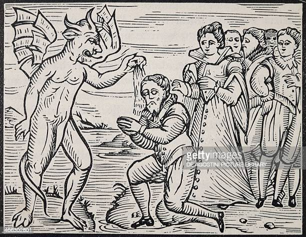 The Devil baptizing a sorcerer engraving from Compendium Maleficarum by Francesco Maria Guazzo 1626 Italy 17th century
