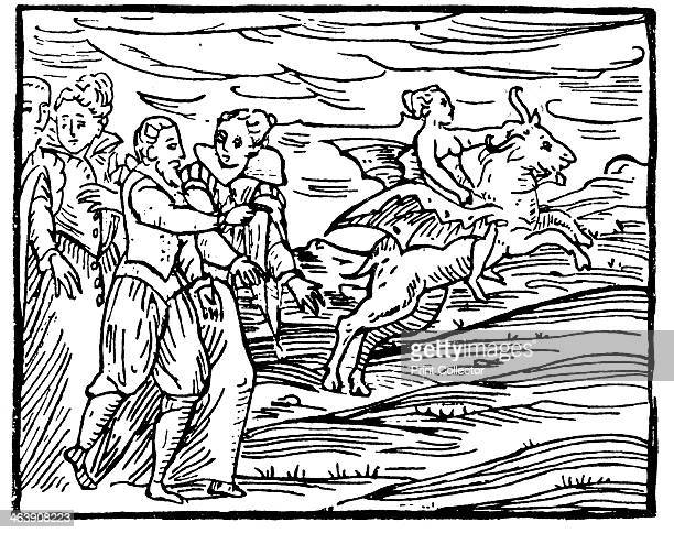 The Devil in the form of a flying goat carrying a witch to the Sabbath 1608 From Francesco Maria Guazzo Compendium Maleficarum a work on witchcraft