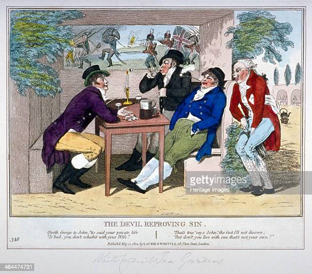 'The Devil Reproving Sin' 1804 Three gentlemen sit smoking and drinking in one of the boxes of a teagarden A waiter on the right draws a cork from a...