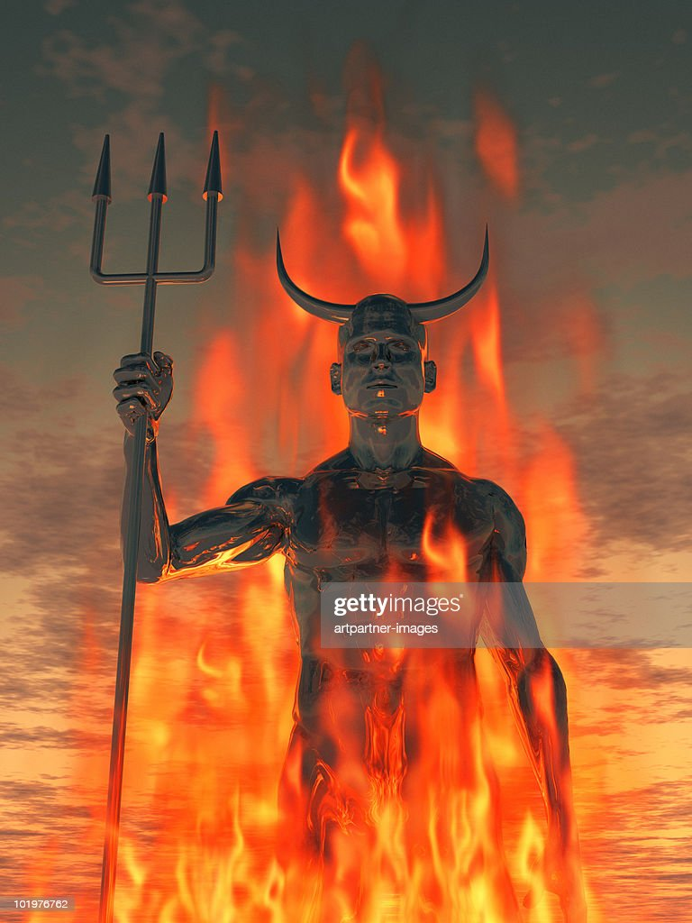 The devil /Satan with trident in the fire