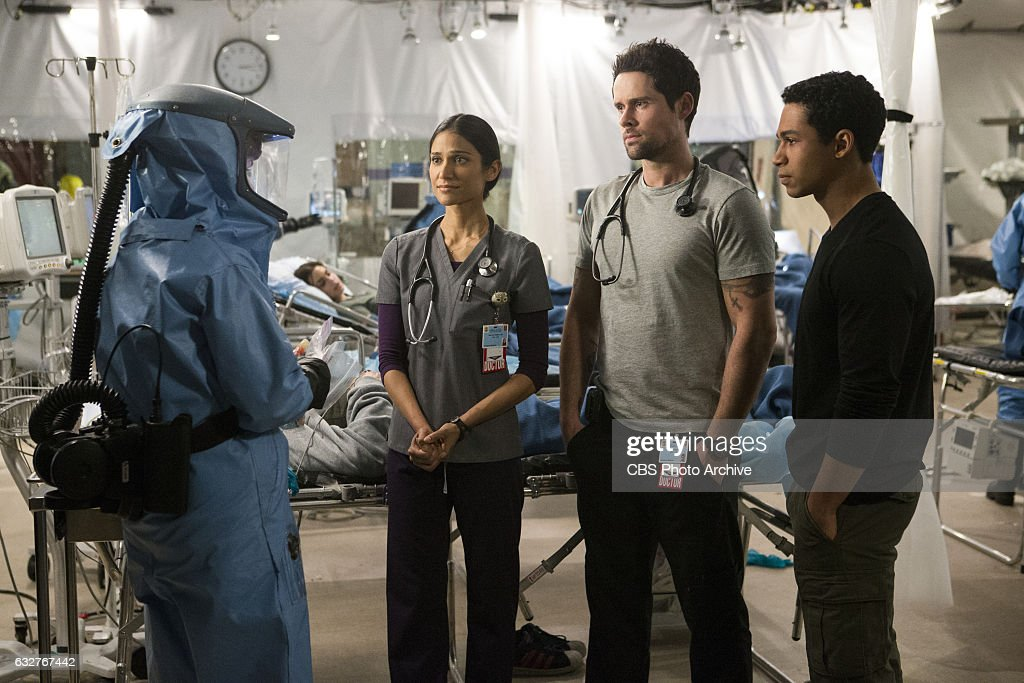 'The Devil's Workshop' -- The ER is quarantined when a viral outbreak jeopardizes the lives of the doctors and patients at Angels Memorial. Also, Ariel (Emily Alyn Lind), the young girl Leanne bonded with a year ago when she lost her father, returns to Angels, on a cliffhanger episode of CODE BLACK, Wednesday, Feb. 1 (10:00-11:00 PM, ET/PT) on the CBS Television Network. Pictured: Melanie Chandra (Dr. Malaya Pineda), Benjamin Hollingsworth (Dr. Mario Savetti), Noah Gray-Cabey