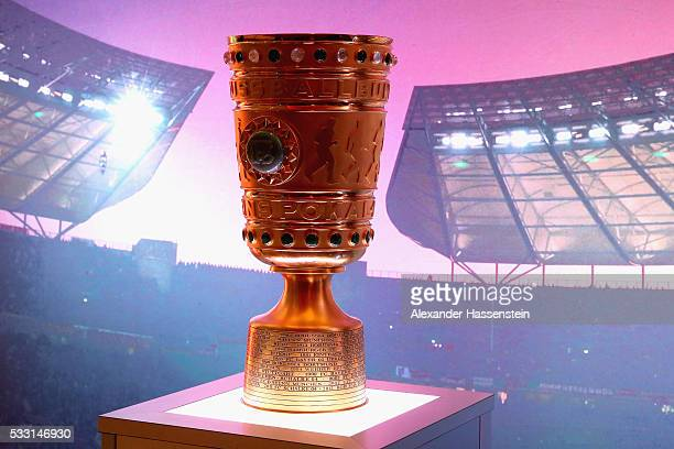 The DFB Cup trophy is displayed on the DFB Cup Final 2016 Gala Evening at Intercontinenal Hotel Berlin on May 20 2016 in Berlin Germany