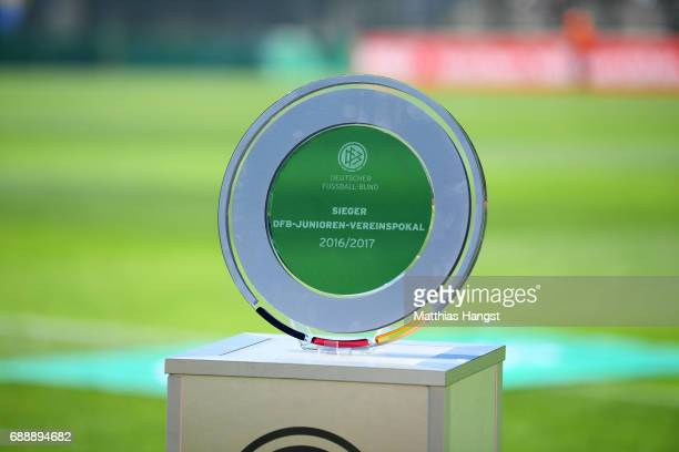 The DFB Juniors Cup trophy is seen prior to the DFB Juniors Cup Final 2017 between Eintracht Braunschweig U19 and FC Carl Zeiss Jena U19 at Stadion...