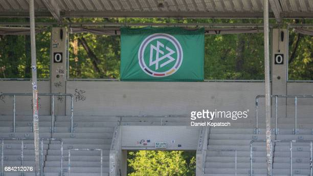 The DFB logo is seen during the U18 International Friendly match between Germany and Italy on May 17 2017 in Grossaspach Germany