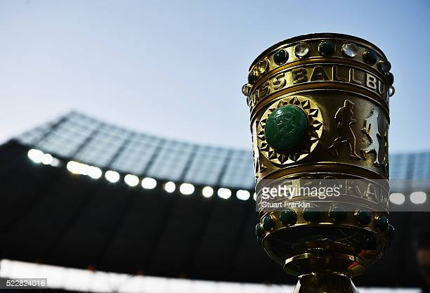 The DFB Pokal trophy is seen prior to the DFB Cup semi final match between Hertha BSC Berlin and Borussia Dortmund at the Olympic stadium on April 20...