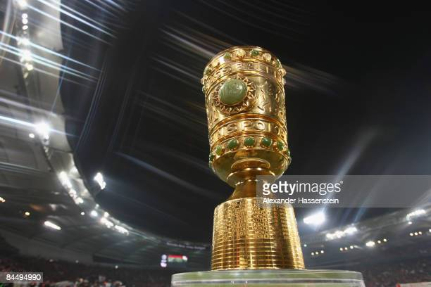 The DFBCup trophy is seen prior to the DFB Cup round of 16 match between VfB Stuttgart and FC Bayern Muenchen at the MercedesBenz Arena on January 27...