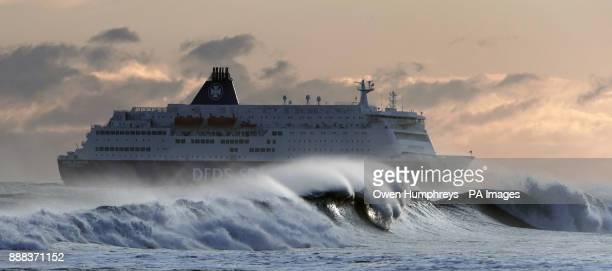 The DFDS King Seaways arrives at the mouth of the River Tyne in windy conditions in South Shields Tyne amp Wear as parts of Britain woke up to a...