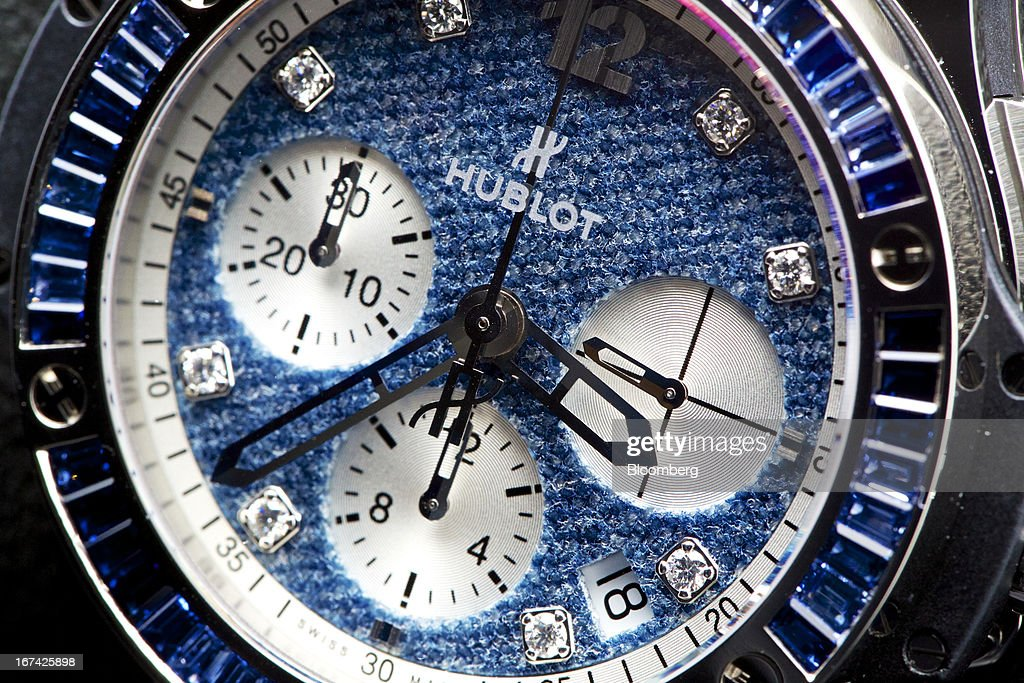 The dial of a wristwatch in the 'Jeans' collection by Hublot SA, a watchmaking unit of LVMH Moet Hennessy Louis Vuitton SA, is seen during the Baselworld watch fair in Basel, Switzerland, on Thursday, April 25, 2013. The annual fair attracts 2,000 companies from the watch, jewelry and gem industries to show their new wares to more than 100,000 visitors. Photographer: Gianluca Colla/Bloomberg via Getty Images