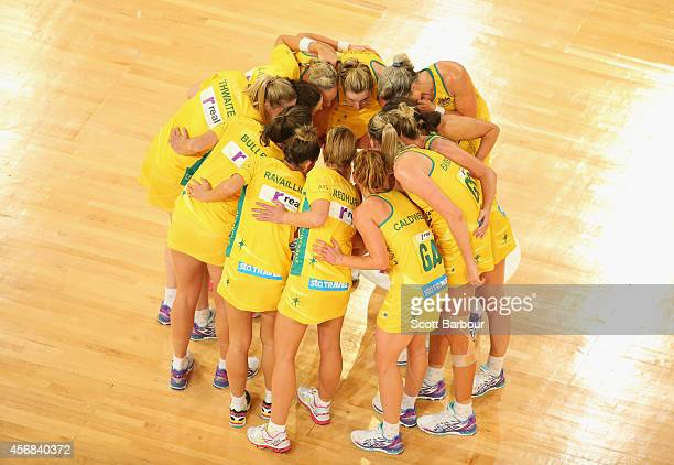 The Diamonds form a huddle as they leave the court after winning the International Test match between the New Zealand Silver Ferns and the Australian...