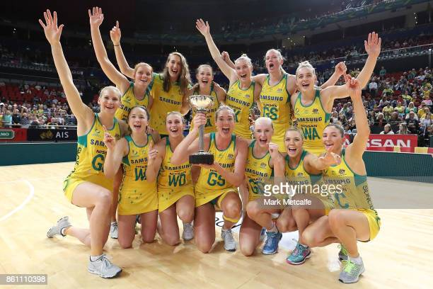 The Diamonds pose with the 2017 Constellation Cup trophy after winning the 2017 Constellation Cup match between the Australian Diamonds and the New...