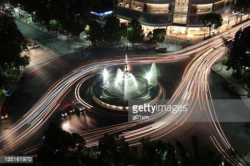 The Diana fountain at night