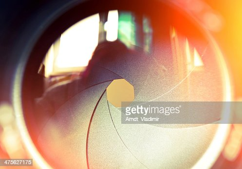 The diaphragm of a camera lens. : Stock Photo