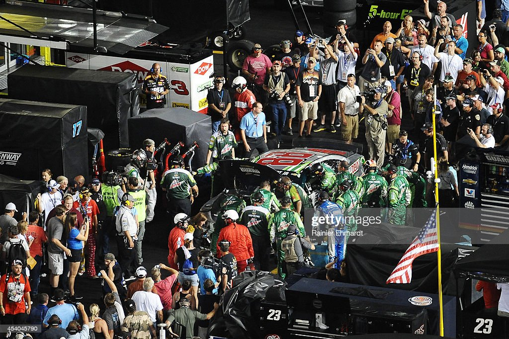 The #88 Diet Mountain Dew Chevrolet, driven by Dale Earnhardt Jr., is seen in the garage area following an incident during the NASCAR Sprint Cup Series Irwin Tools Night Race at Bristol Motor Speedway on August 23, 2014 in Bristol, Tennessee.
