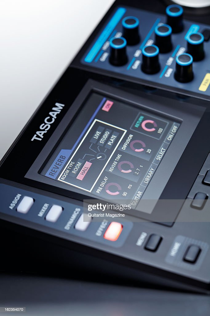 The digital display of a Tascam DP24 portable digital multitrack recorder photographed during a studio shoot for Guitarist Magazine July 20 2012