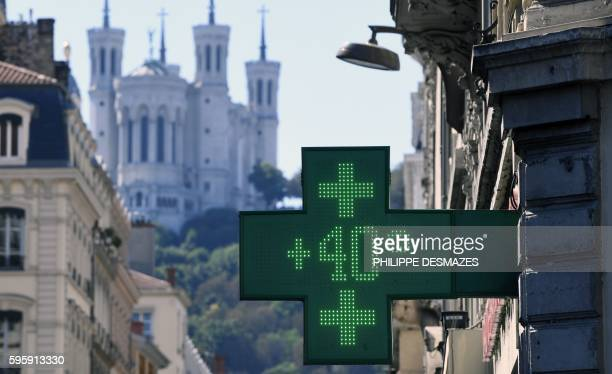 The digital sign of a pharmacy reads 40 degrees Celsius on August 26 2016 in Lyon central eastern France as a wave of heat strikes France In the...