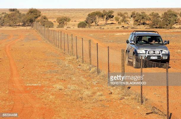 The Dingo Fence divides the desolate outback landscape on the edge of the Simpson Desert 05 July 2005 The 5600 kilometre fence keeps the carniverous...