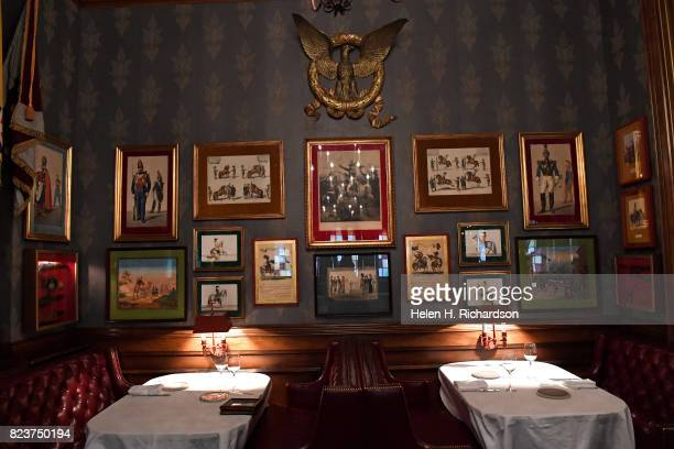 The dining room inside the Palace Arms restaurant is filled with Napoleonic era memorabilia that was bought by hotel owner CK Boettcher at the Brown...