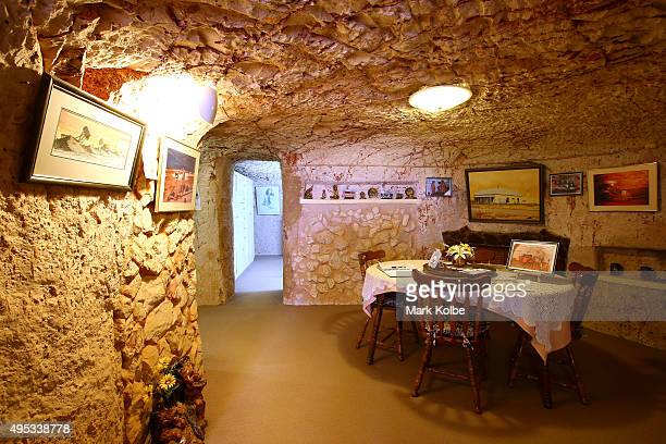 The dining room is seen inside Faye's Underground Home on October 22 2015 in Coober Pedy AustraliaThis three bedroom dugout as locals call...