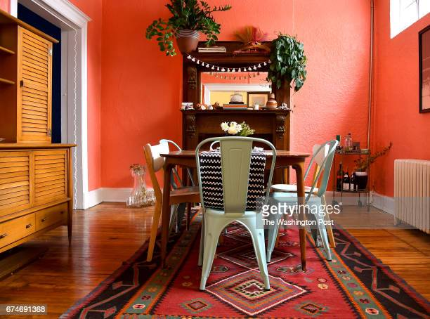 The dining room of Holley Simmons' home April 17 2017 in Washington DC Dining room Total budget $1500 Tips she bought that table and credenza at an...