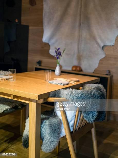 BIFåNGST GOTHENBURG VäSTERGöTLAND SWEDEN The dining table at Bifångst a two seat restaurant inside HOZE in Gothenberg