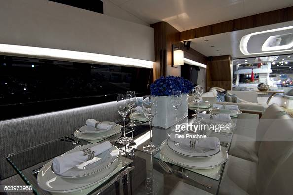 The dinning area of a Sunseeker 725 is displayed during the London Boat Show at ExCel on January 8 2016 in London England The London Boat Show taking...