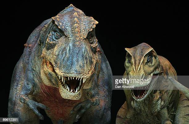 The dinosaurs lined up ahead of tonight's premier of Walking with Dinosaurs at the 02 Arena on August 5 2009 in London EnglandThe show based on an...