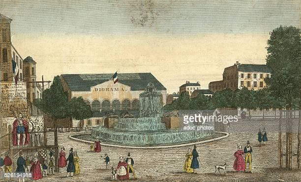 The Diorama of LouisJacques Mand�� Daguerre located place du Ch��teau d'Eau today place de la R��publique in Paris Lithography in colour Ca 1830