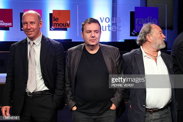 The director of France Musique radio station Olivier MorelMaroger France Musique's host Christophe Bourseiller and the director of the Fip radio...