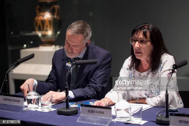 The director of the British museum Hartwig Fischer and Elisa Duran during the press conference in 'Agon La Competicion En La Antigua Grecia ' Art...
