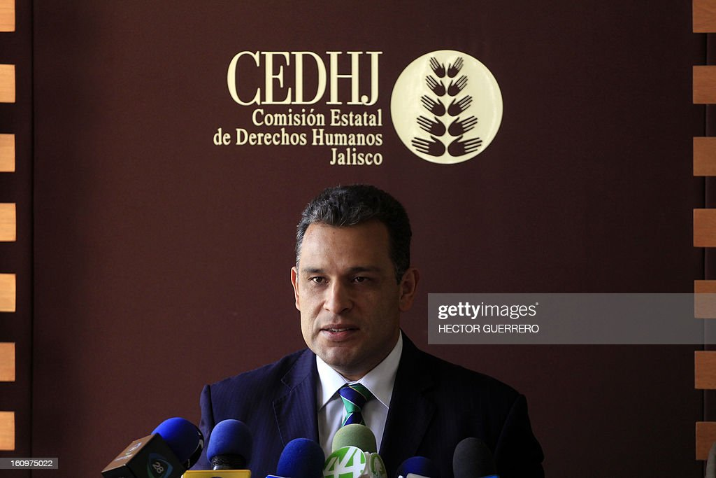 The director of the Commission on Human Rights of the State of Jalisco, Felipe Alvarez Cibrian, answers questions during a press conference in Guadalajara, Mexico, on February 8, 2013. Alvarez Cibrian referred to the case in which a Mexican girl gave birth to a baby girl by C-section on January 27. The nine-year-old girl named Dafne, has disappeared with her baby and authorities now suspect she may be older, a top prosecutor said Thursday. AFP PHOTO/Hector Guerrero