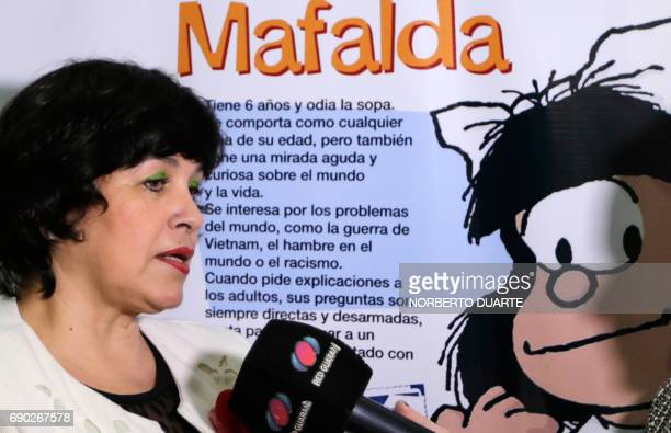 The director of the Educational Development Committee at Paraguay's Ministry of Education and Culture Maria Gloria Pereira speaks to the press during...