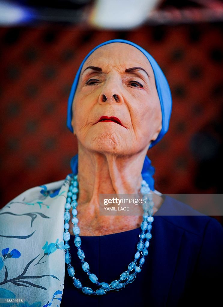 The director of the prestigious National Ballet of Cuba, legendary Prima Ballerina Assoluta <a gi-track='captionPersonalityLinkClicked' href=/galleries/search?phrase=Alicia+Alonso&family=editorial&specificpeople=217756 ng-click='$event.stopPropagation()'>Alicia Alonso</a>, attends a press conference on the 'La Huella de Espana Festival' in Havana, on April 7, 2015. AFP PHOTO / YAMIL LAGE