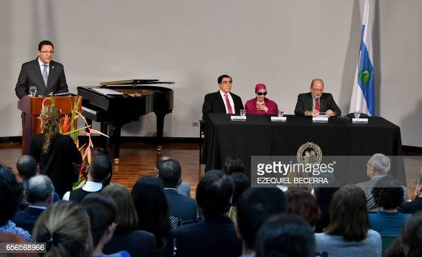 The director of the University Council of the Universidad de Costa Rica Jose Francisco Aguilar speaks during the ceremony in which Cuban prima...
