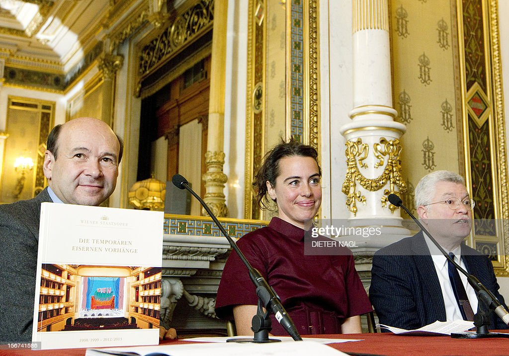 The director of the Vienna State Opera Dominique Meyer, the Curator of 'Museum in Progress' Sabine Dreher and Art Historian Marco Livingstone a press-conference, presenting a new iron curtain painting by British painter David Hockney November 20, 2012 at the opera in Vienna on.