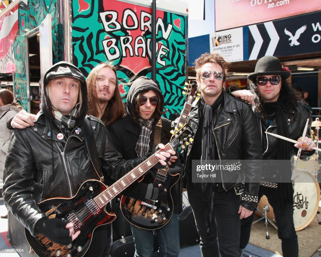 The Dirty Pearls attend Lady Gaga's Born Brave Bus Tour in Times Square on March 23, 2013 in New York City.