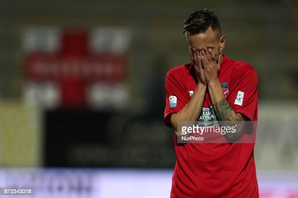 The disappointment of Antonio Bacio Terracino of Teramo Calcio 1913 during the Lega Pro 17/18 group B match between Teramo Calcio 1913 and AS Gubbio...