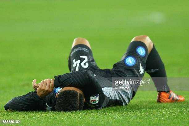 The disappointment of Lorenzo Insigne of Napoli during the Serie A match between SSC Napoli and Juventus at Stadio San Paolo on December 1 2017 in...