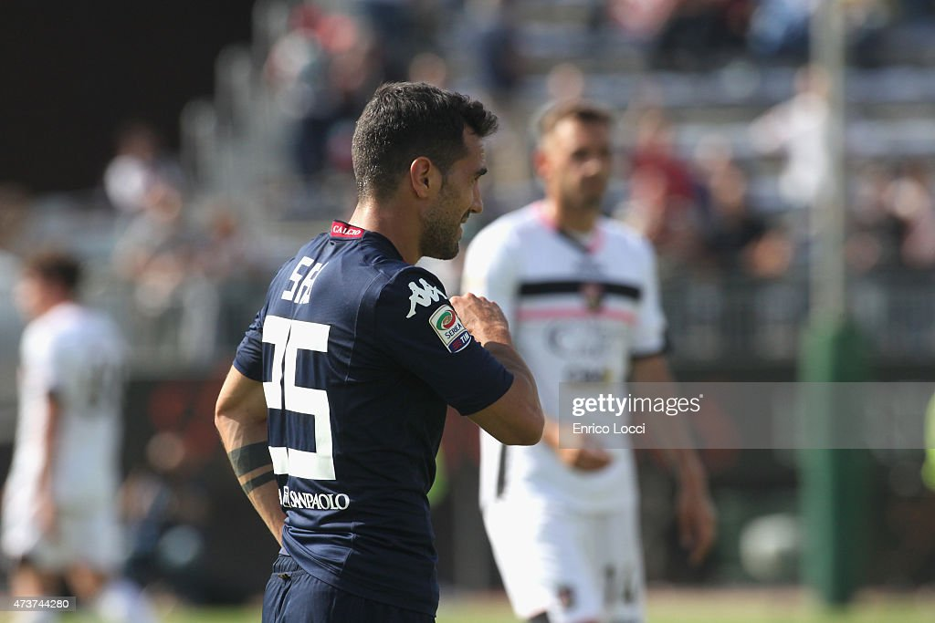 the disappointment of marco sau of Cagliari during the Serie A match between Cagliari Calcio and US Citta di Palermo at Stadio Sant'Elia on May 17, 2015 in Cagliari, Italy.