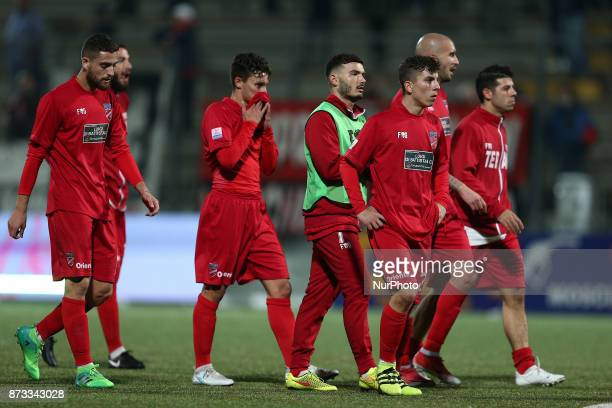 The disappointment of the Teramo Calcio 1913 players after the defeat of the Lega Pro 17/18 group B match between Teramo Calcio 1913 and AS Gubbio...