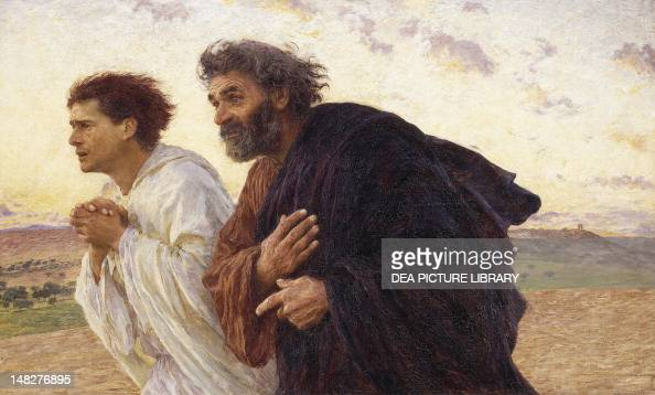 The disciples Peter and John running to the tomb on the morning of the Resurrection by Eugene Burnand oil on canvas 82x134 cm Paris Musée D'Orsay