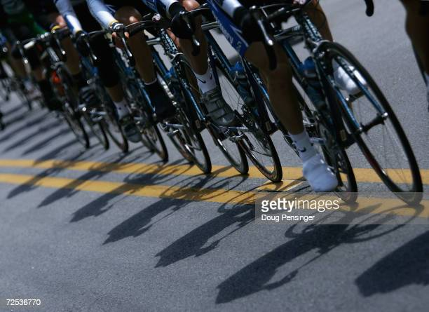 The Discovery Channel Pro Cycling Team casts a shadow on the byways through the North Georgia Mountains at the front of the peloton during stage six...